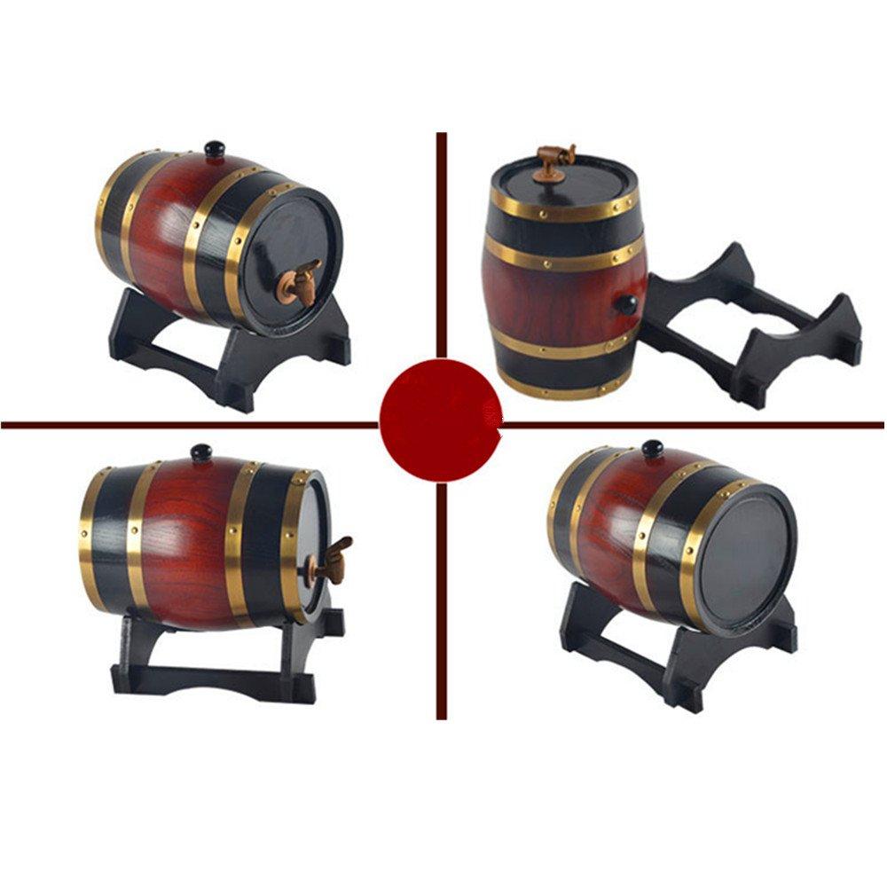 Oak Barrel, Dream_light Vintage Wood Oak Timber Barrel For Storage or Aging Wine Whiskey Beer Rum Bourbon Tequila, Vintage Style Tabletop Wine Barware Wine Barrel Home Decor (Wine Red, 15L)