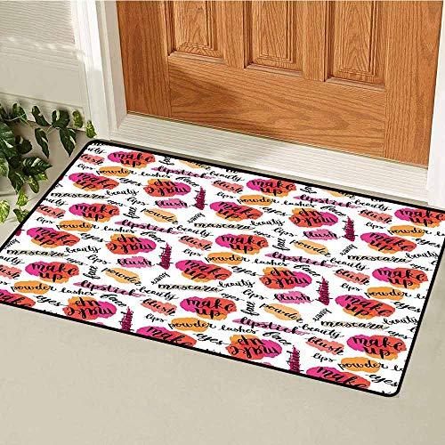 GloriaJohnson Fashion Universal Door mat Trendy Woman Make Up Elements with Calligraphy Blush Lipstick Powder Beauty Pattern Door mat Floor Decoration W29.5 x L39.4 Inch Multicolor