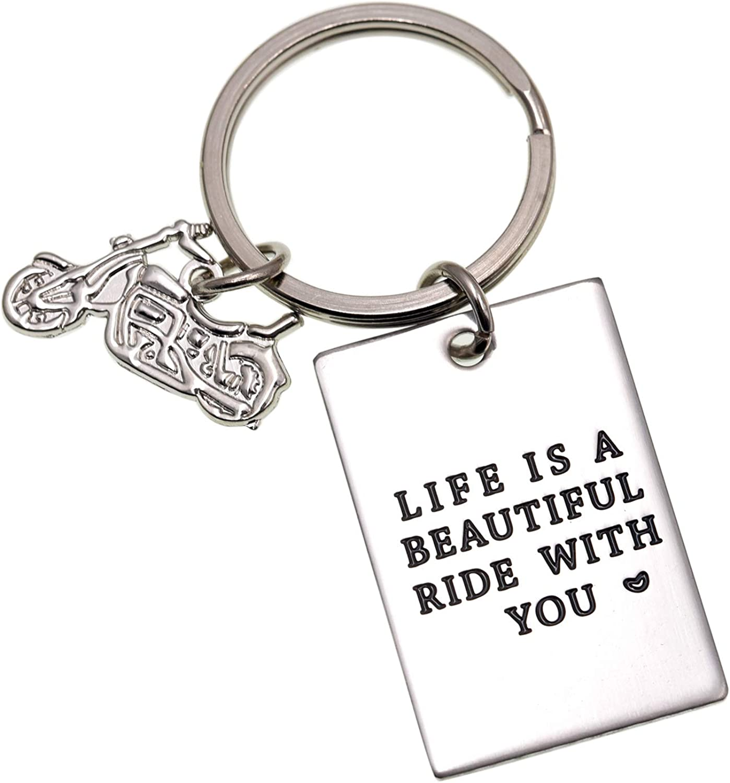LParkin Llavero de Motocicleta Vida es un Hermoso Viaje con Usted – Regalo del día del Padre/Padre/Regalo de cumpleaños para papá