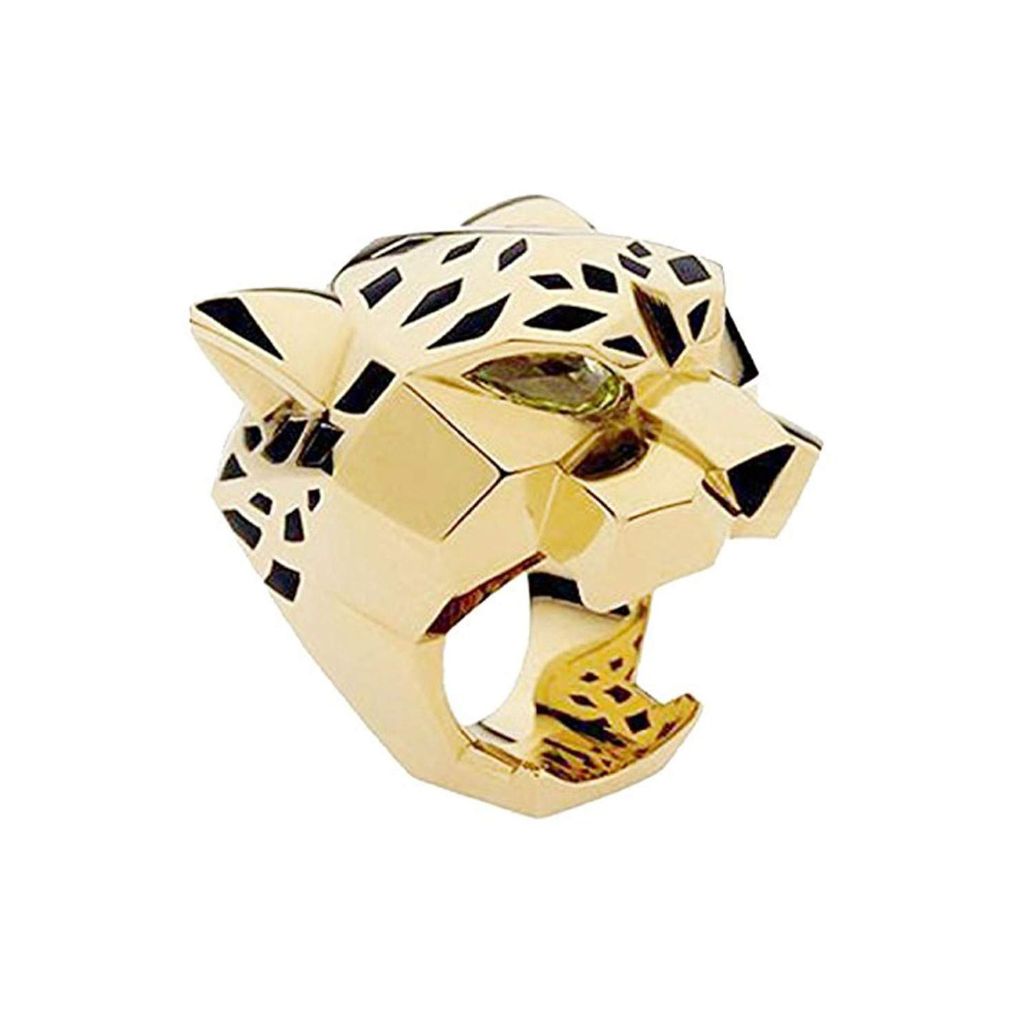 Designer Inspired Leopard Statement Ring with Black Enamel and Austrian Crystals Unisex (Gold, 8)