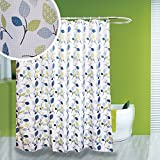 #10: Fabric Shower Curtain, Diamond Weave with Floral Leaves Pattern, 100% Polyester, Mildew Resistant Waterproof Machine Washable (Botanic Charm, 72 x 72 inches)