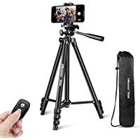 """UBeesize Phone Tripod, 50"""" Adjustable Travel Video Tripod Stand with Cell Phone Mount Holder & Smartphone Bluetooth…"""