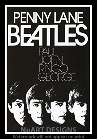 Framed Vintage Rock Poster PENNY LANE QuotTHE BEATLESquot Size 12quot
