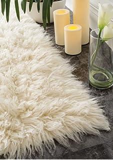 Hand Woven Flokati Shag New Zealand Wool Natural Shag Area Rugs, 4 Feet By 6