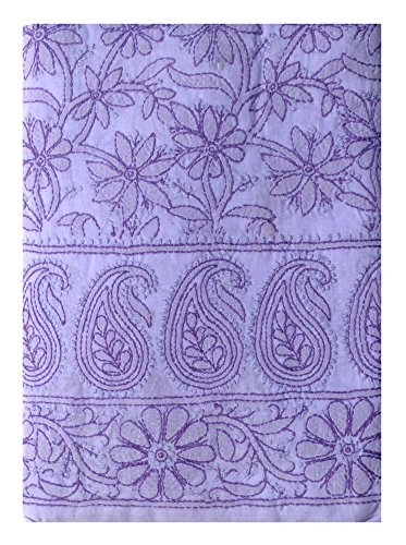 Exotic India Voilet-Tulip Salwar Kameez Fabric With Lukhnavi Chikan Emb - Purple