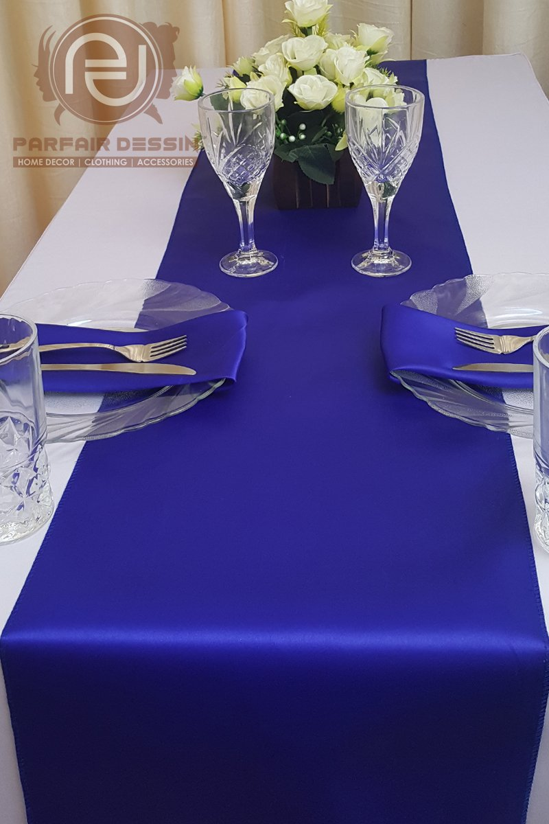 Parfair Dessin Pack of 10 Satin Table Runners 12 x 108 inch for Wedding Banquet Decoration, Bright Silk and Smooth Fabric Party Table Runner - Royal Blue by Parfair Dessin (Image #4)