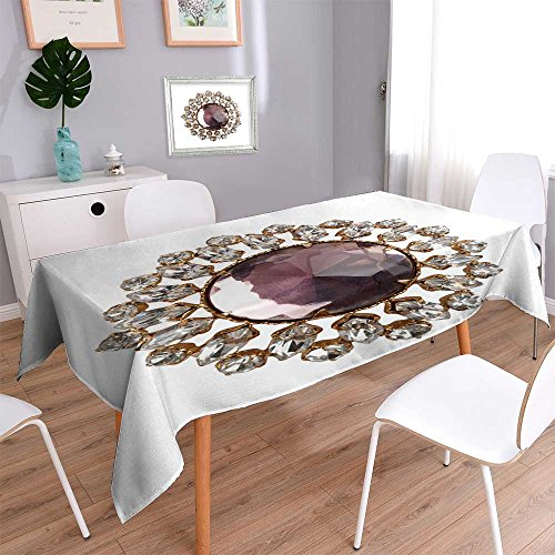 (PRUNUSHOME Linen Square Tablecloth vintage brooch Washable Table cloth Dinner Kitchen Home Decor/23W x 23L)