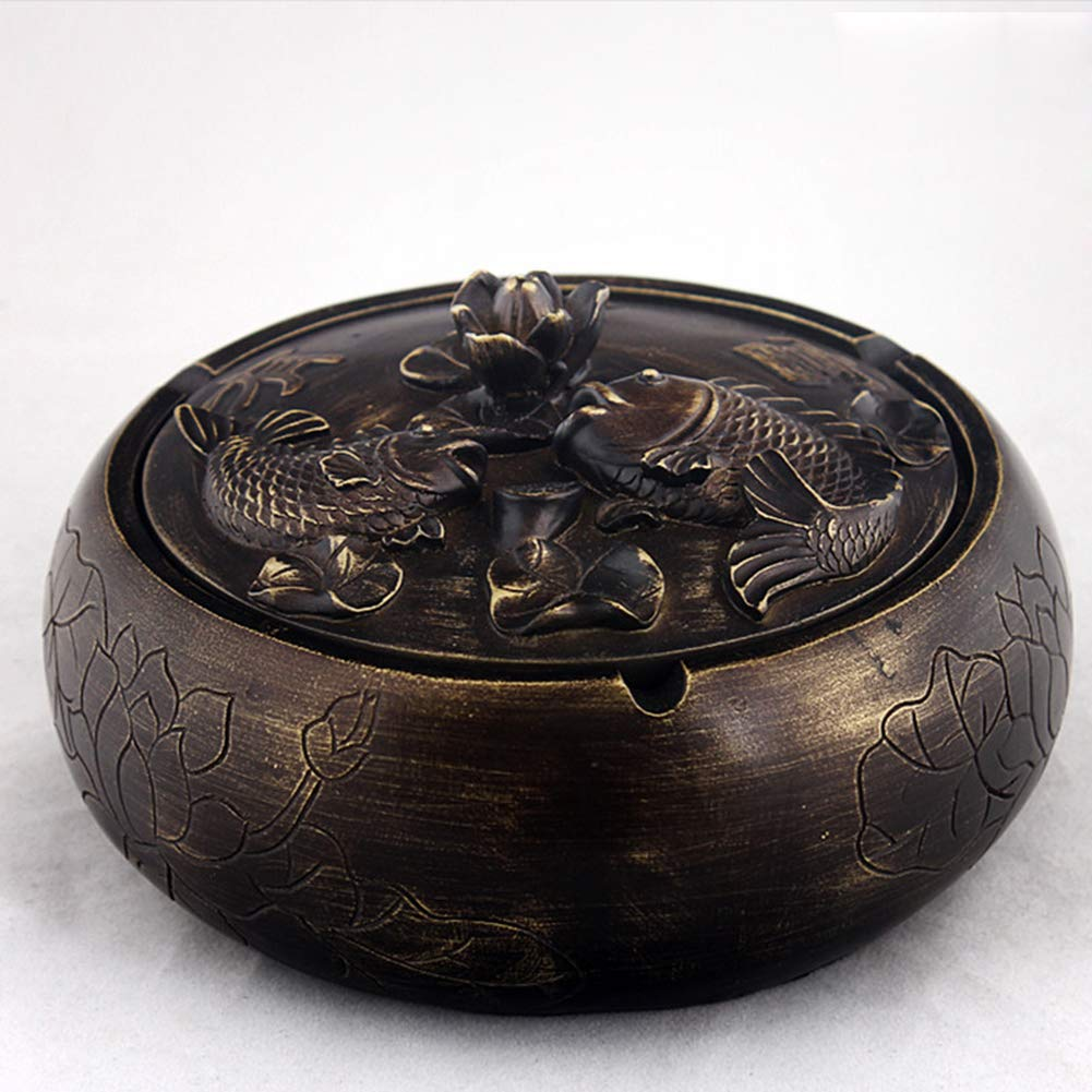 NACHEN Ashtray with Lid Retro Chinese Style Living Room Coffee Table Large Home Multi Functional Decorative Relief,Copper,Oneleaf