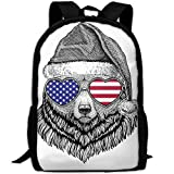 ZQBAAD Animal With A Christmas Hat Luxury Print Men And Women's Travel Knapsack