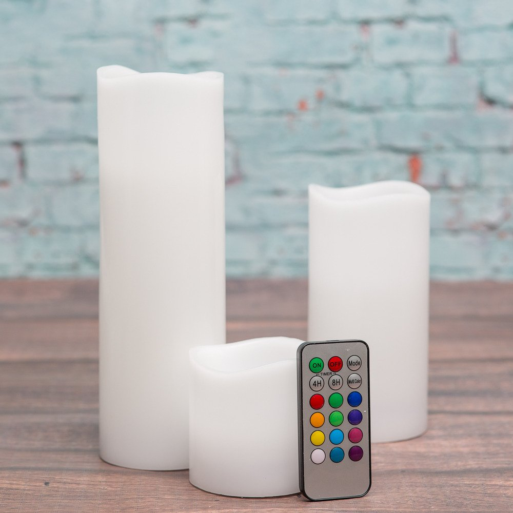 Richland Wavy Top Flameless LED Pillar Candles White 3''x3'' 3''x6'' and 3''x9'' with Remote Control Set of 18