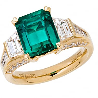 Amazon Amoro 18k Yellow Gold Colombian Emerald Ring and