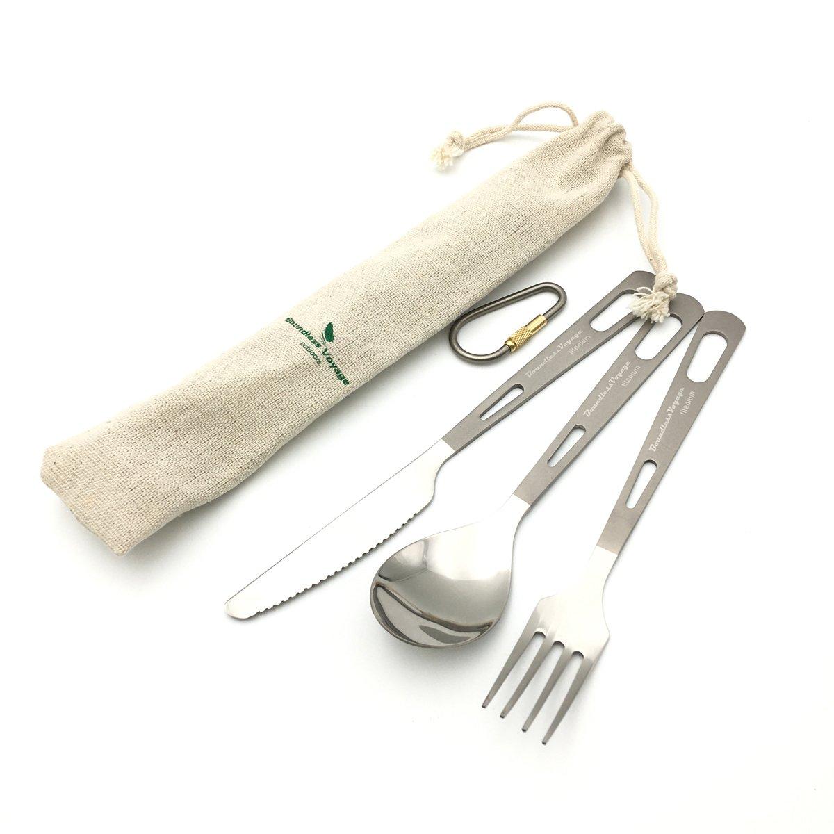 ibasingo Set de 3Piece/de titanio Vajilla Tenedor, Cuchara, camping Outdoor Cubiertos Vajilla para picnic, Viajes, mochila viaje ultraligera 46.2g