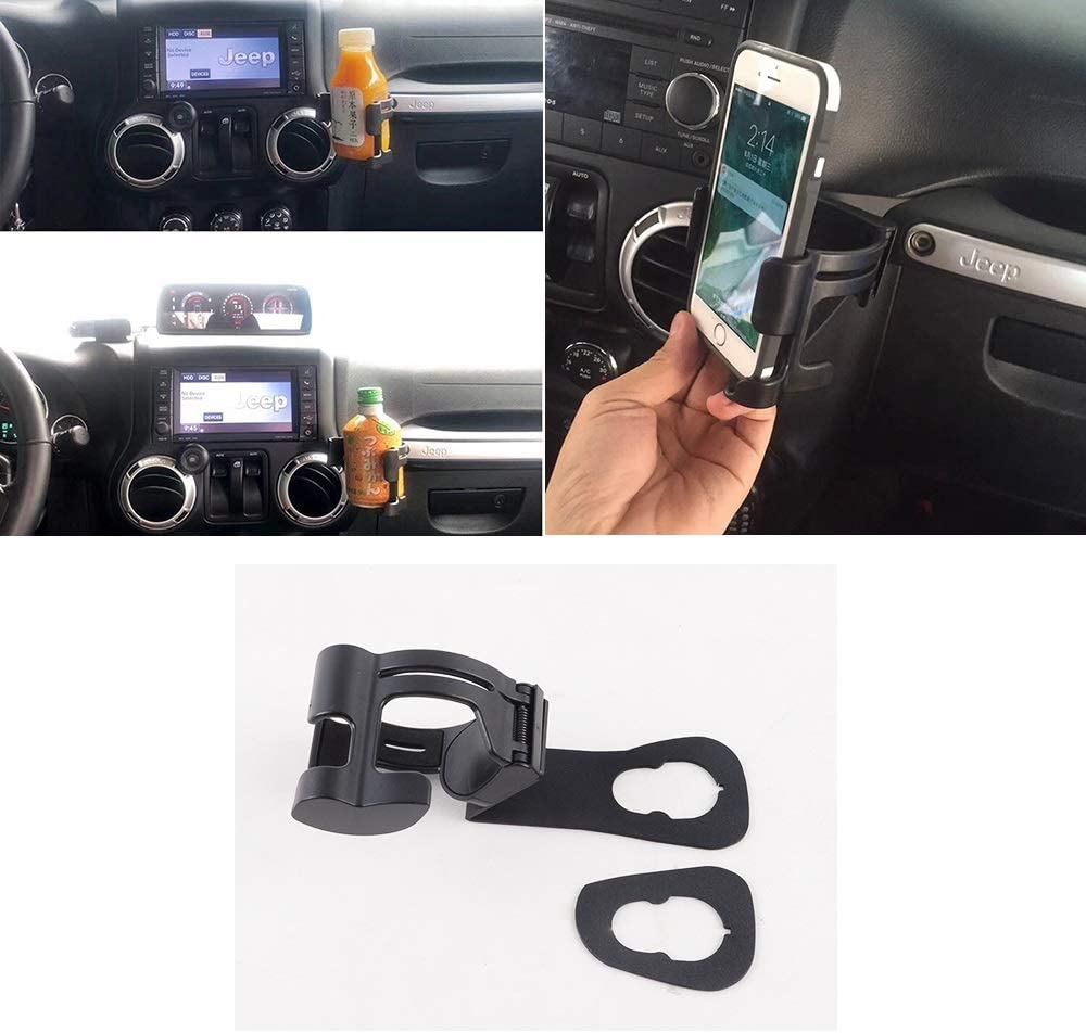 ZGAUTO Multi-Function Bolt-on Vehicle Mount Water Bottle Holder,Adjustable 2 in 1 Car Water Drink Cup & Cell Phone Stand Holder Air Vent Mount for Jeep JK Wrangler 2011-2017