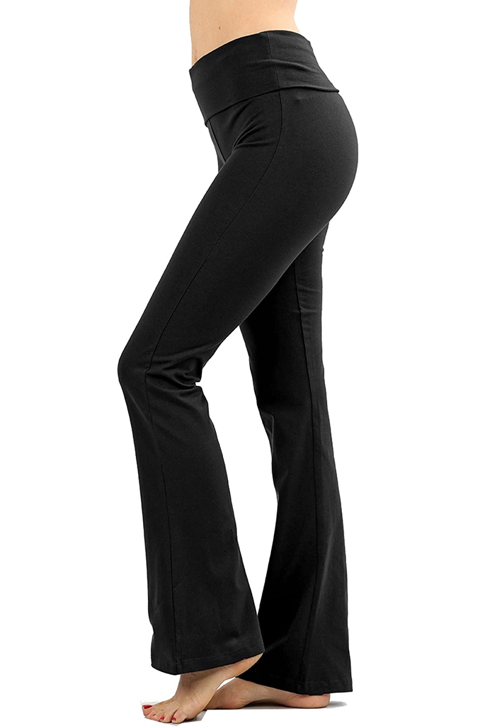 45d7115582 Soft and Light Yoga Pants Fold-over Waistband and Flared Leg Opening Size -  Small: Inseam: 30