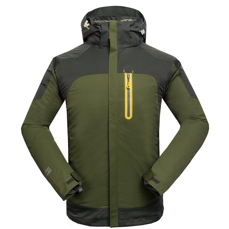 emansmoer Herren 3 in 1 Winddicht Wasserdicht Atmungsaktiv Outdoor Sport Camping Wandern Jacke mit Warme Fleecejacke