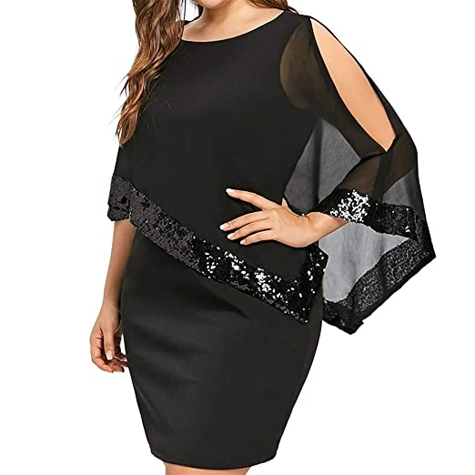 6a298534ddca TIFENNY Women Plus Size Shawl Cold Shoulder Overlay Asymmetric Chiffon  Strapless Sequins Dress Fashion Party Dresses