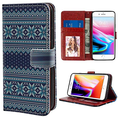 iPhone 8 Plus 7 Plus Wallet Phone Case Nordic Festive Knitted Pattern with Chevron Herringbone Abstract Snowflake Dark Blue Turquoise White for Women Case