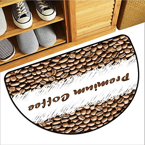 Waterproof Door mat Coffee Freshly Roasted Arabica Beans Premium Quality Doodle White Border Being Robust Durable W24 xL16 Cocoa White