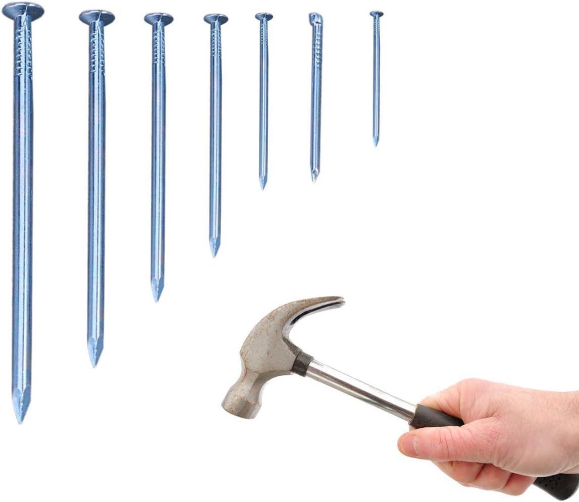 Hemobllo Paquete de 280 Surtido de carpintería Uñas de hardware Cabeza redonda Hierro chapado en zinc Durable Brad Picture Hanging Nails