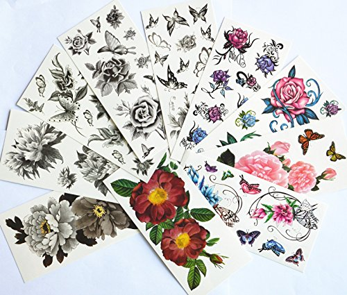 10pcs/package hot selling temporary tattoo stickers various designs including black peony/black flowers and butterflies/black roses/colorful flowers and butterflies/roses/peony/etc.