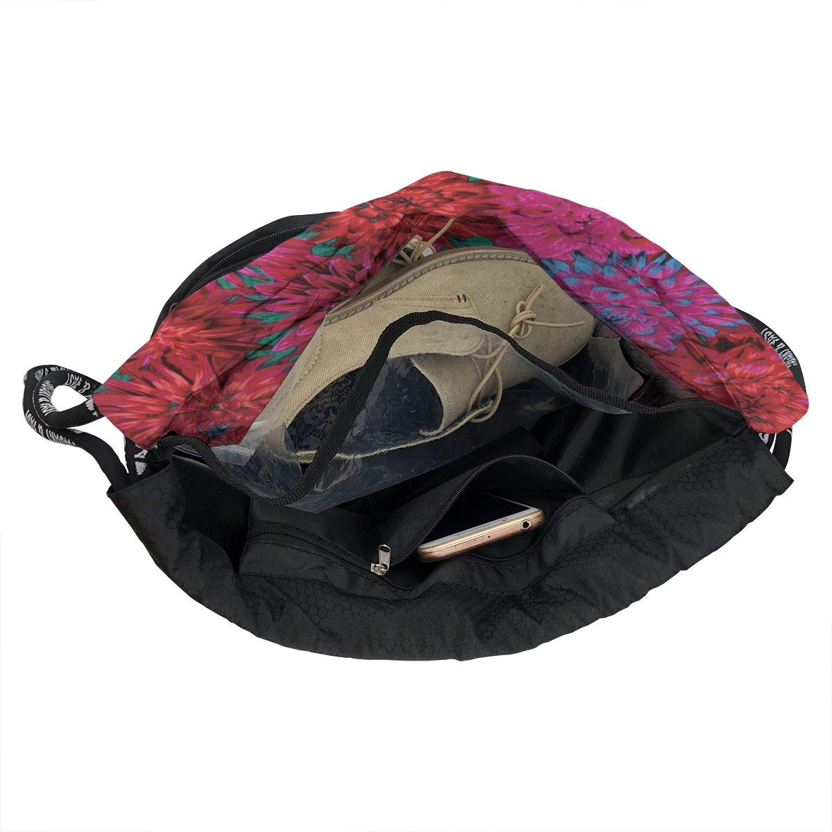 HUOPR5Q Flowers-and-Bees Drawstring Backpack Sport Gym Sack Shoulder Bulk Bag Dance Bag for School Travel