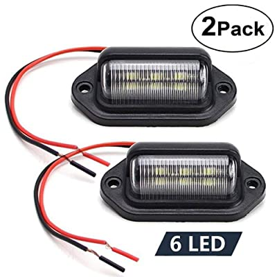 JEDEW 2 pack 12V 6 LED License Plate Lamp Light Taillight for Truck SUV Trailer Van RV Trucks and Boats License Tags, Step Courtesy Lights, Dome/Cargo Lights (Black 2-pack): Automotive [5Bkhe1504499]
