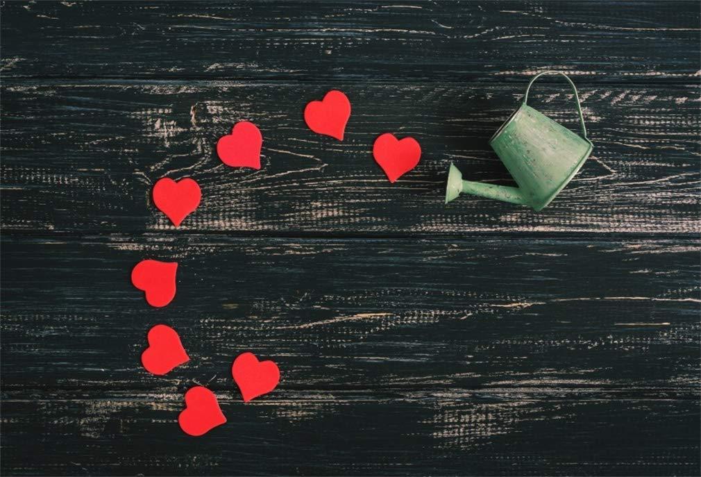 Yeele 9x6フィート バレンタインデー 写真撮影用背景 レッド ハート 水やり缶 ヴィンテージ 素朴な木製ボード 背景 パーティー バナー 子供 赤ちゃん 恋人 大人 ポートレート 写真ブース 撮影 ビニール スタジオ 小道具   B07L895Y1M