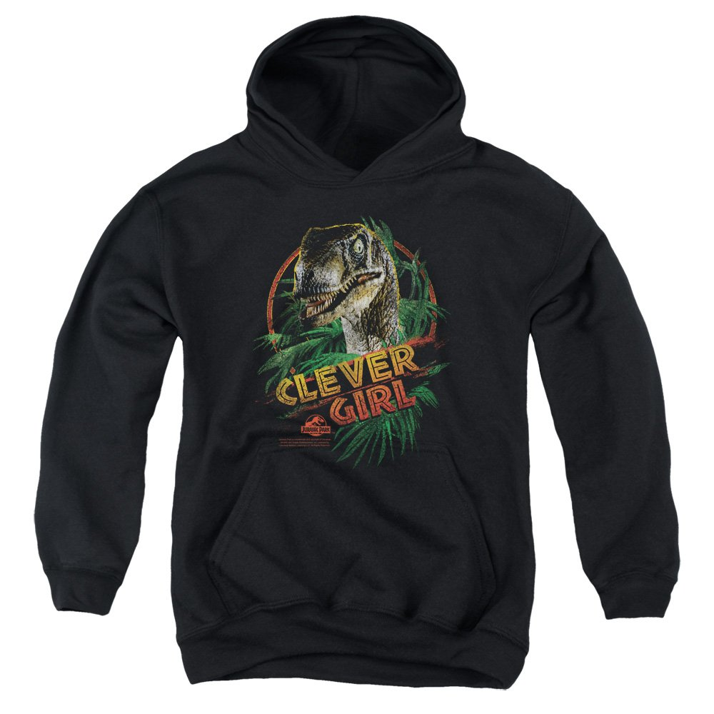 2Bhip Jurassic Park Dinosaur Movie Spielberg Clever Girl Big Boys Pull-Over Hoodie Trevco