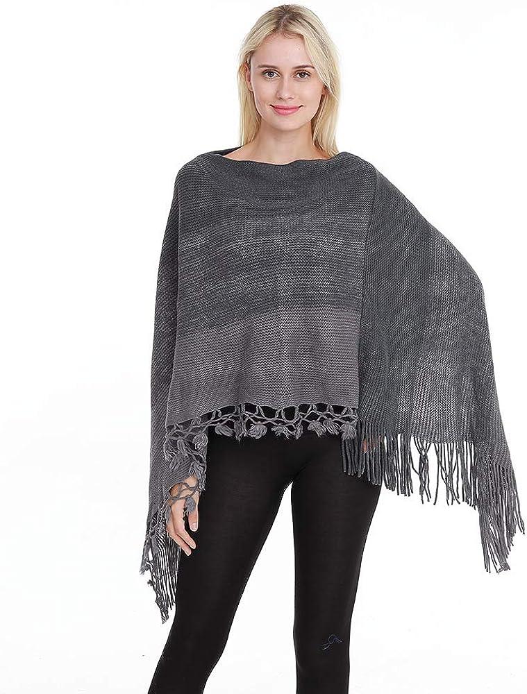LVSF Womens Stripe Fringe Cape Shawl Knit Tassel Poncho Cape Cloak Poncho Top