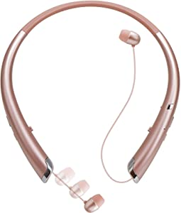 Bluetooth Retractable Headphones, Wireless Earbuds Stereo Headsets Neckband Earphone Noise Canceling with Mic Compatible with iPhone,Samsung,Android,iPad,PC (Gold)
