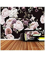 3D Mural Custom 3D Photo Wallpaper Mural Hand Painted Black White Rose Peony Flower Wall Mural Living Room Home Decor Painting Wall Paper Silk Cloth 250X180cm,Ayzr