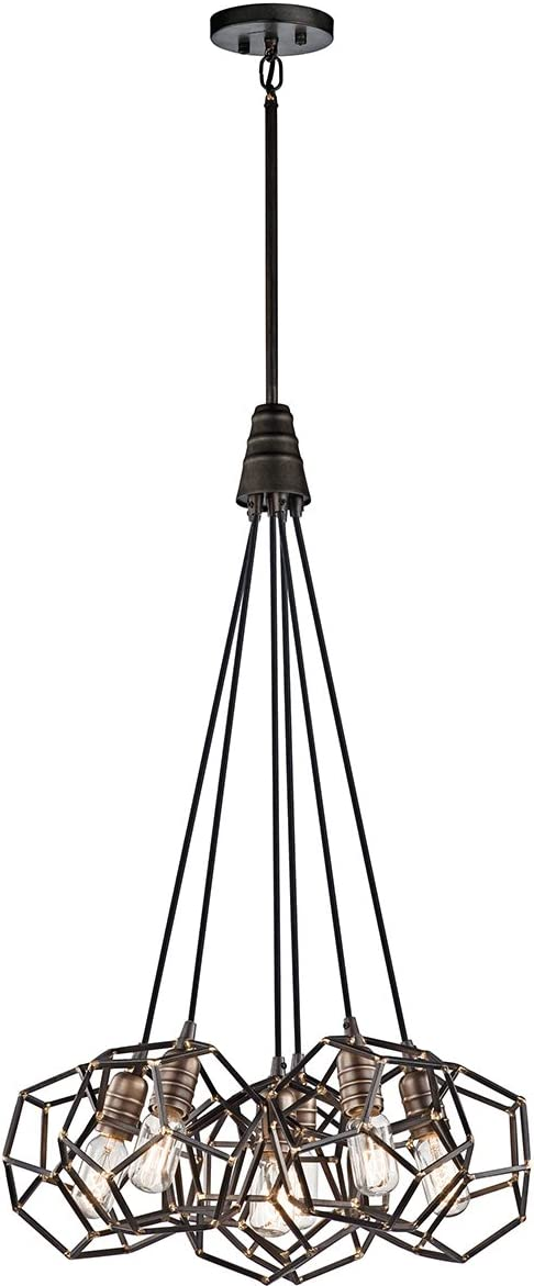 Kichler 43718RS Rocklyn Pendant, 6 Light Incandescent 600 Total Watts, Raw Steel