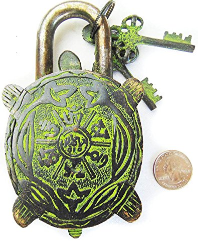 Solid Brass Natural (Turtle Monastery Lock - Solid Brass with Natural Patina in a Beautifully Ornate Padlock. Ornamental Antique Handcrafted Locks for Security and Style)
