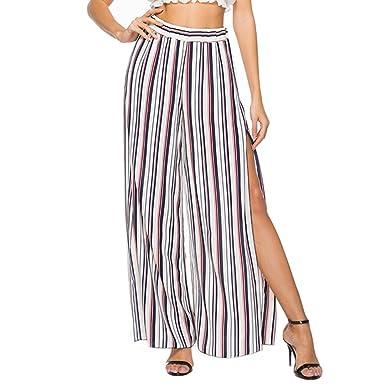9f19636fbb93 Youthny Pantalon Rayé Jambe Évasée d été Mode Vintage Taille Haute Femmes