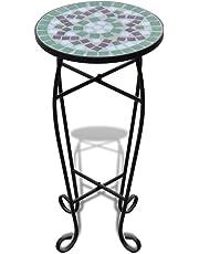 vidaXL New Balcony Mosaic Side Coffee Table Plant Flower Terrace Green Wedding Dining