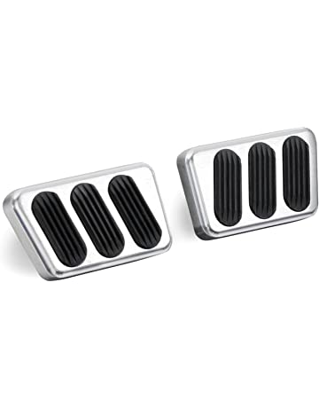 Lokar BAG-6121 Brushed Billet Aluminum Manual Brake/Clutch Pad with Rubber - Pair
