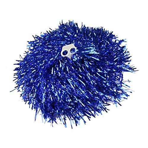 SuperMM Cheerleading Pom Poms Sports Dance Cheer Plastic Pom Pom for Sports Team Spirit Cheering Blue 1 Pair -