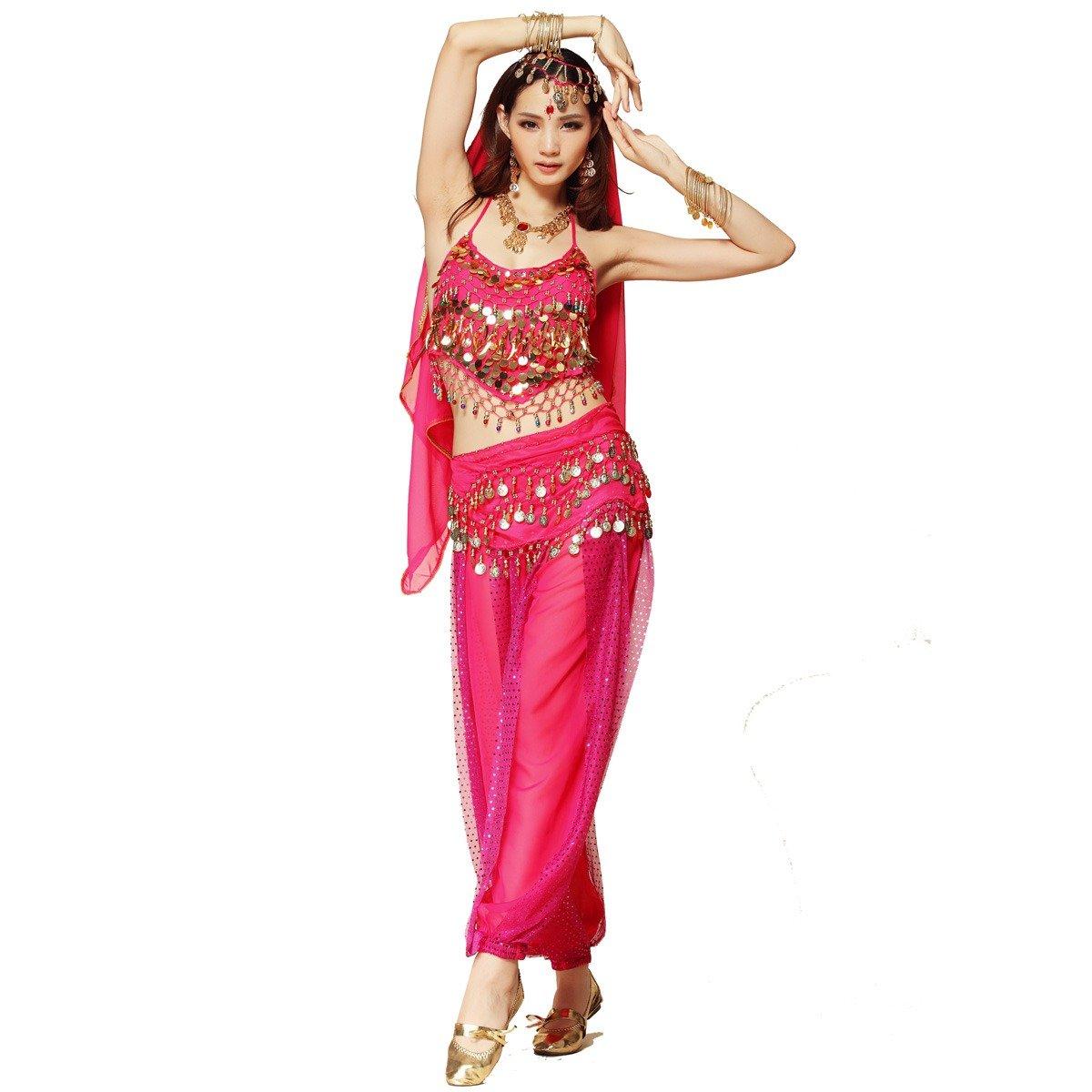 Bauchtanz-Kostüm für Damen von Best Dance, bestehend aus Oberteil mit Perlen und Glöckchen, Haremshose und einem Hüfttuch.