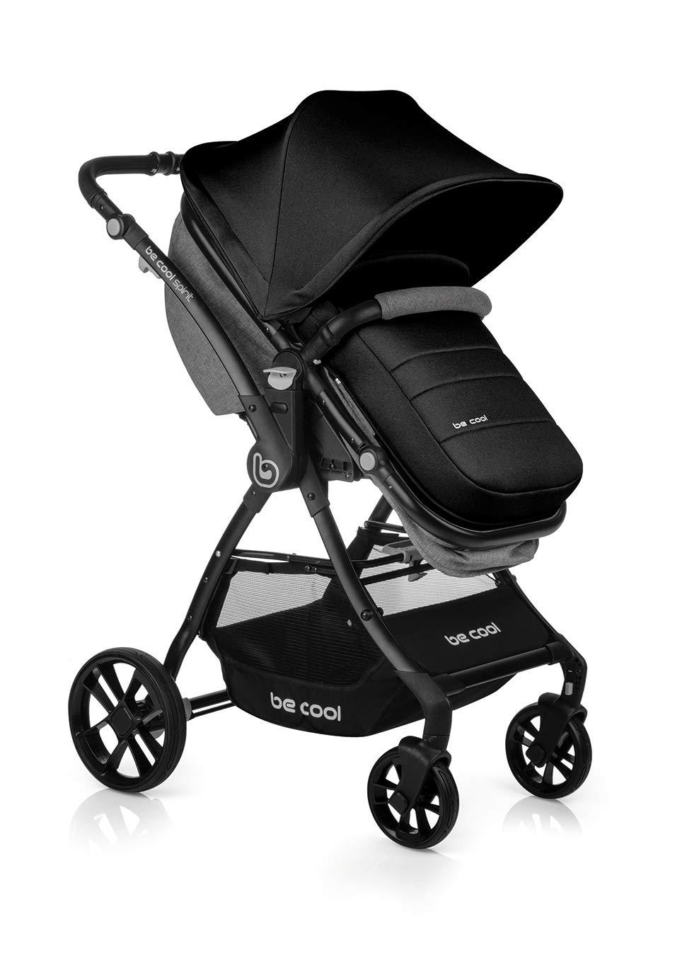 BE COOL Spirit - Silla de paseo convertible en capazo, Color Be Solid Black