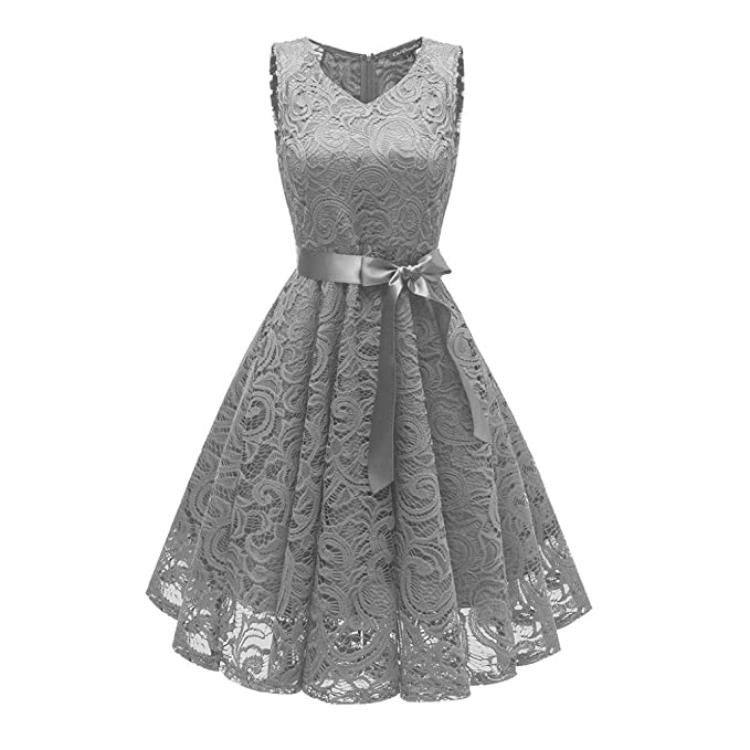 f10d3a629a1ec Minisoya Women Casual Vintage Cocktail Prom Party Floral Lace Dress Ball  Gown Formal Bridesmaid Flare Swing