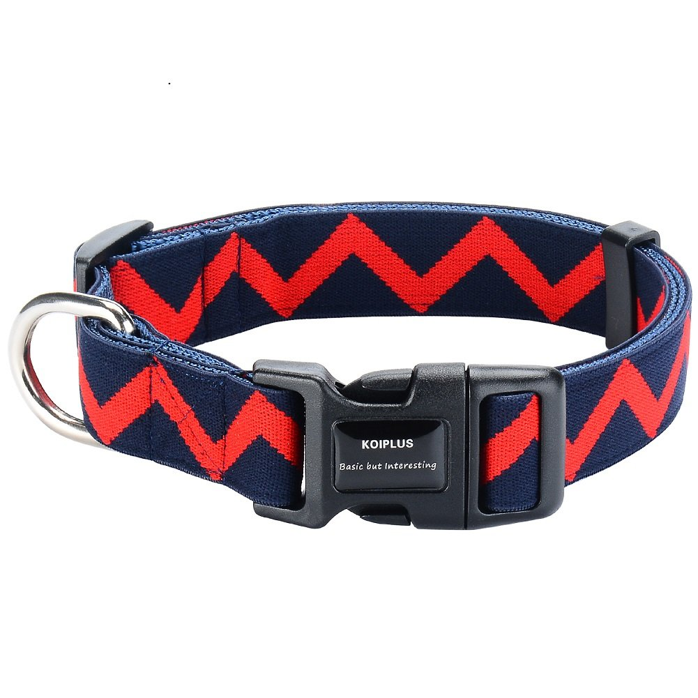 Navy Medium Navy Medium Durable Dog Collar,KOIPLUS Adjustable Dual Padded Nylon Collar, Perfect for Small Medium and Large Dogs(M,Navy bluee)