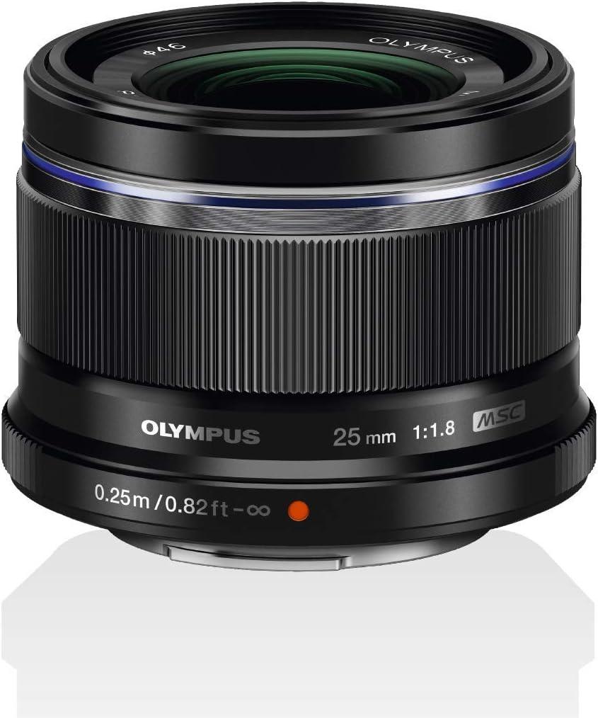 Objetivo Olympus M.Zuiko Digital 25mm F1.8, longitud focal fija rápida, apto para todas las cámaras MFT (modelos Olympus OM-D & PEN, serie G de Panasonic), negro