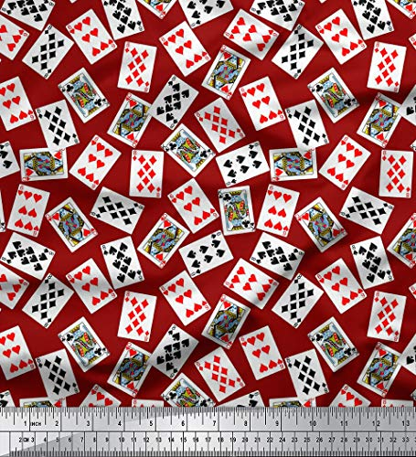 Soimoi Cotton Cambric Fabric Poker Card Print Sewing 58 Inches Wide Material by The Yard-Maroon -