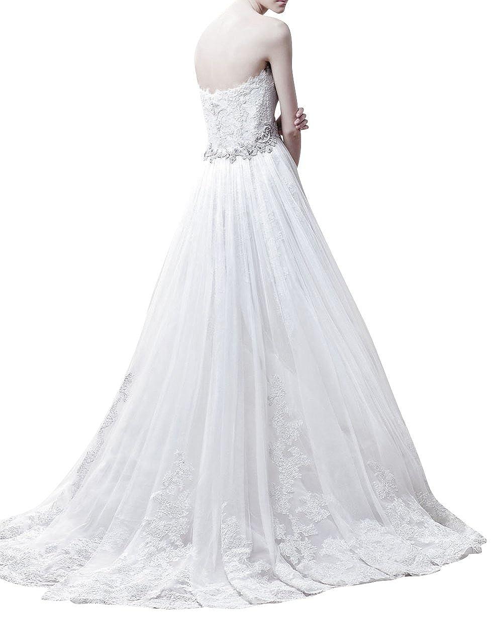 Dapene Womens Lace Sweetheart Sleeveless Train A Line Bridal Wedding Dress