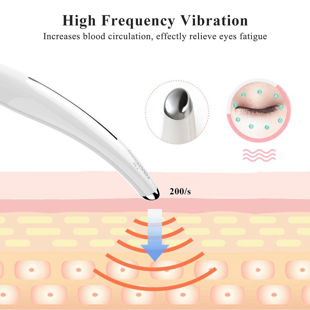 TOUCHBeauty TB-1583 Apparecchio antiage antirughe, massaggiatore contorno occhi a caldo a 40° con vibrazione ad alta frequenza, bacchetta rimuovi rughe, allevia occhiaie e borse