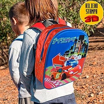 2561d9b7e38c9b Bakaji Zaino Scuola Asilo Elementare Zainetto 28x10x32 Disney Pixar Cars 3D  Saetta Mc Queen: Amazon.it: Giochi e giocattoli