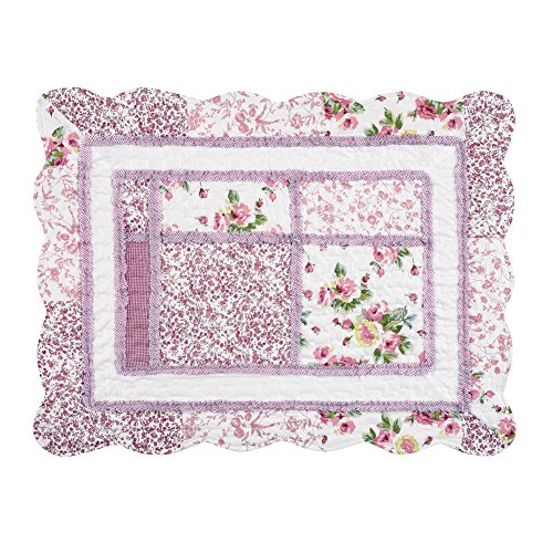 Patchwork Border - Collections Etc Patchwork Classic Floral Pillow Sham with Scalloped Border, Rose, Sham