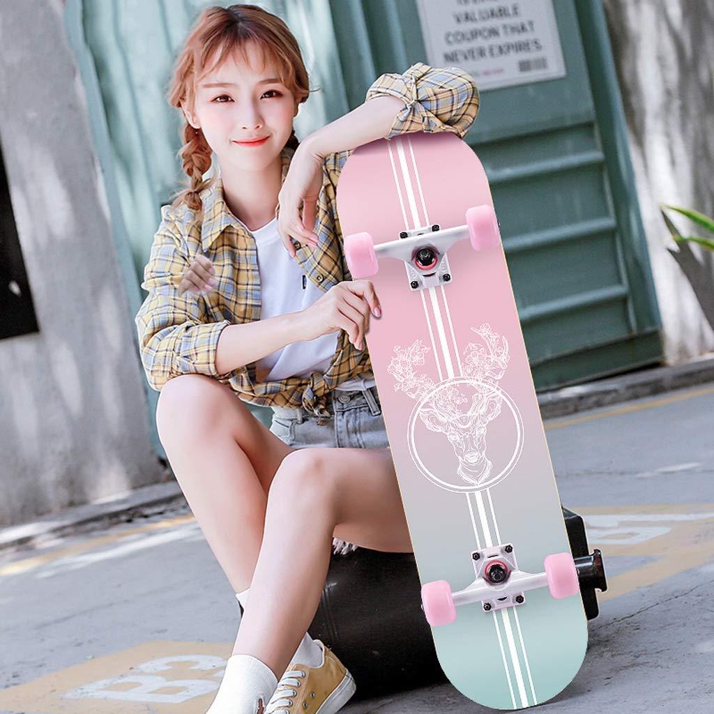 DUWEN スケートボードメープルボード初心者向け大人用ブラシストリートダンスボード10代の男の子と女の子四輪スクーター (色 : A) A