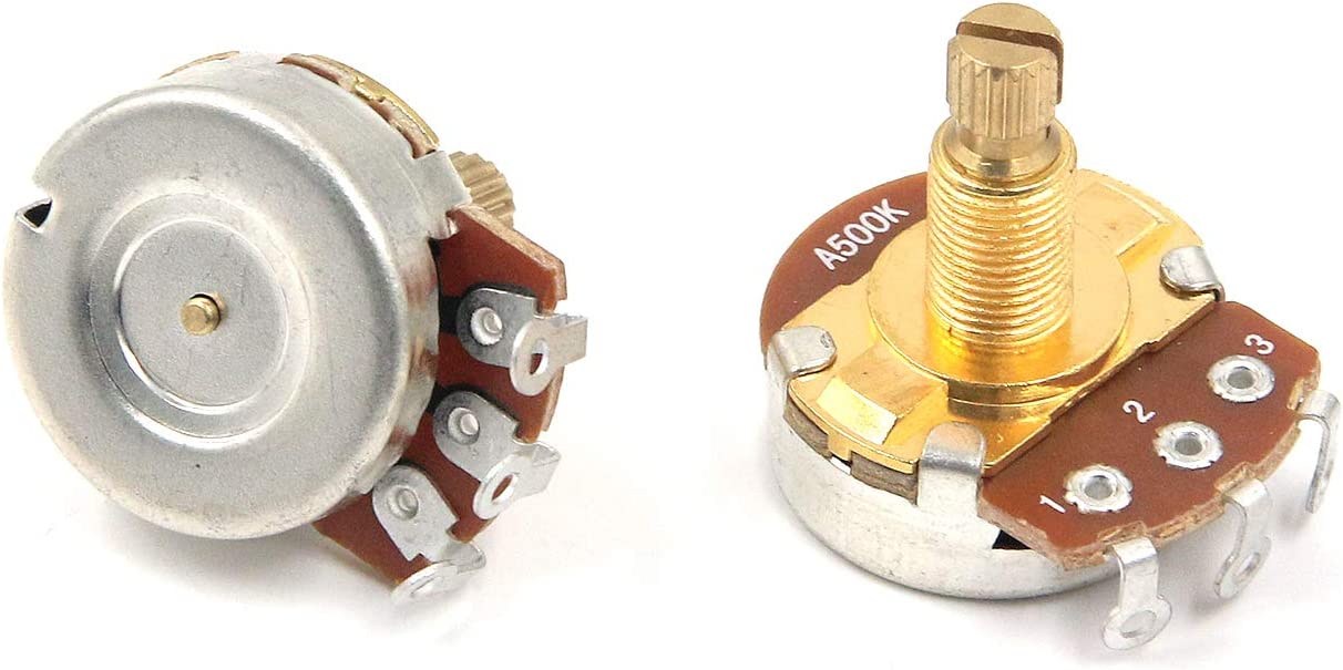 Long Split Shaft Audio Taper Low Friction Rotation Geesatis A250K 4 PCS Long Shaft Audio Taper Potentiometers//Pots with Nut and Washer