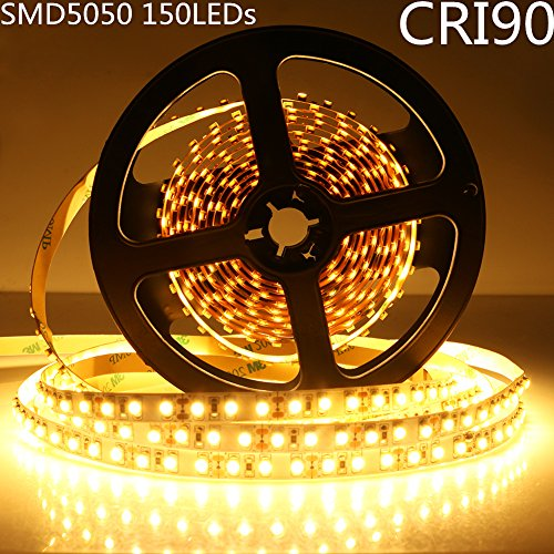 LightingWill LED Strip Lights CRI90 SMD5050 150LEDs 16.4Ft/5M Ultra Warm White 2700K-3000K DC12V 36W 30LEDs/M 7.2W/M 10mm White PCB Flexible Ribbon Strip with Adhesive Tape Non-Waterproof H5050UWW150N